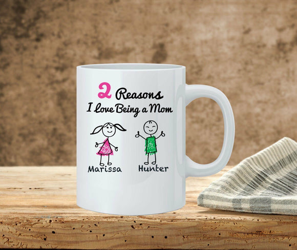 Details about  Reasons I love being a Mom - Personalized Mom Coffee Mug - Stick Figure Family 11 oz mugs mug