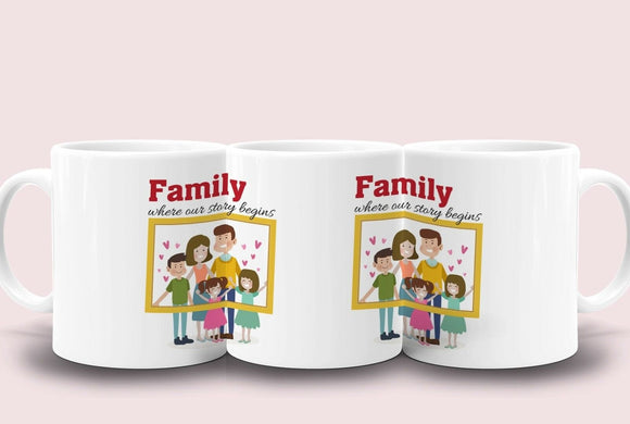 Family Where Our Story Begins Everyday, Anniversary, Birthday Gift 11 oz mug