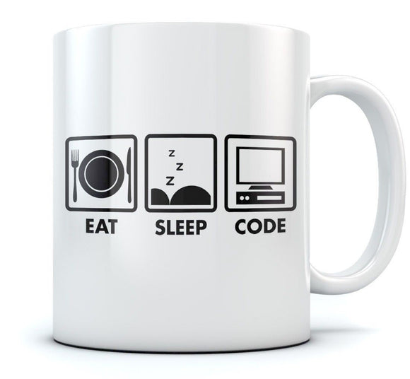 Eat Sleep Code Coffee Mug - Geek Gift Idea - Funny Programmer Coder Tea Cup Mug  11 oz mugs mug