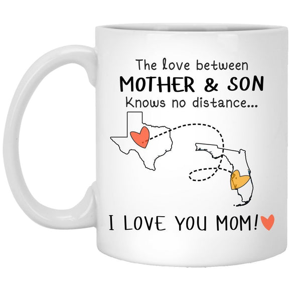 Texas Florida The Love Between Mother and Son Knows No Distance - Ceramic Coffee 11 oz mugs mug