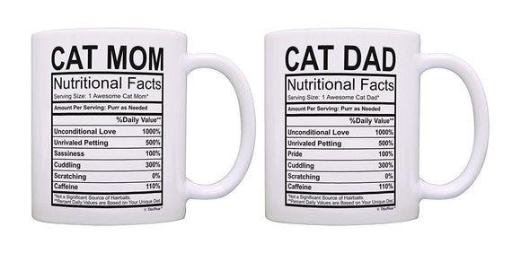 Cat Gifts Cat Mom Dad Nutrition Facts Mug Set Pet Parents 2 Pack Gift Coffee Mugs Tea Cups Mom & Dad 11 oz mugs mug