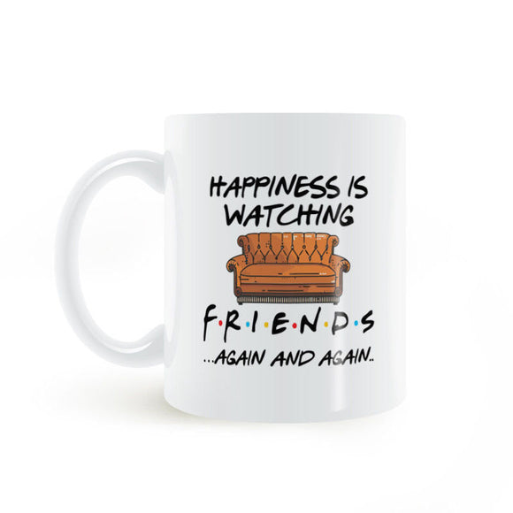 Details about  Happiness is watching tv shows friends 11 oz mugs mug