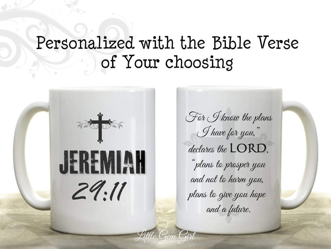 Double Sided Custom Coffee Mug made with the Bible Verse of your choosing  11 oz mugs mug