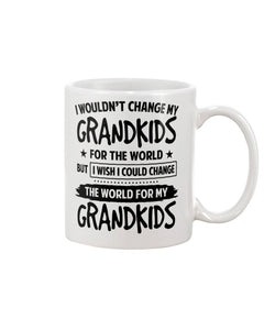 I wouldn't change my grandkids for the world but i wish i could change the woeld for my grandkids Mug