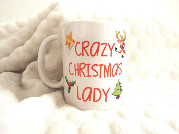 Crazy Christmas Lady Xmas Birthday Funny Ceramic Mug Gift Must Have