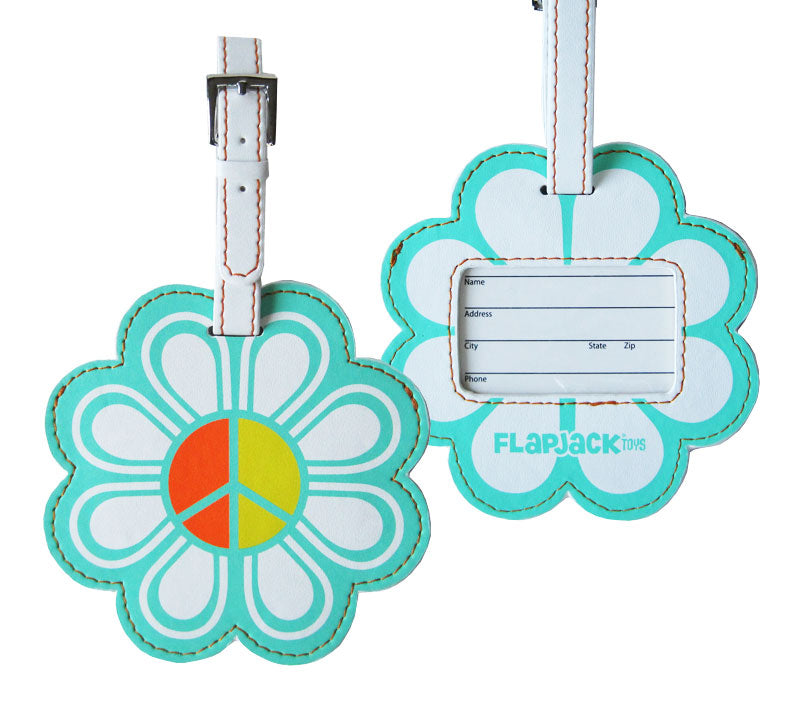 Aqua Peace Sign Flower Luggage Tag