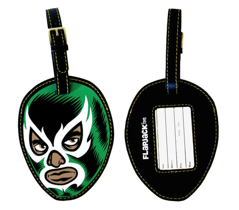 Green Lucha Libre Luggage Tag