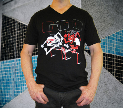 Flapjack Toys Hurdlers Black T-shirt - Skeleton and Devil