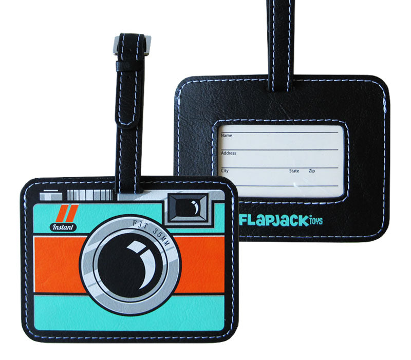 Jade and Orange Camera Luggage Tag