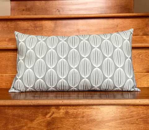 "Nelly 20"" x 11"" Linen Lumbar Throw Pillow - Gray"