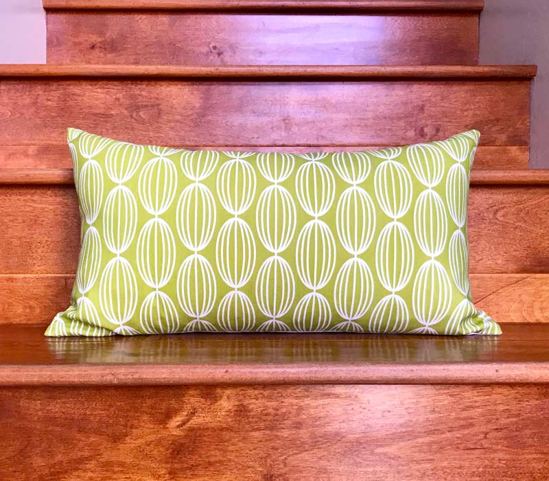 "Nelly 20"" x 11"" Linen Lumbar Throw Pillow - Lime"