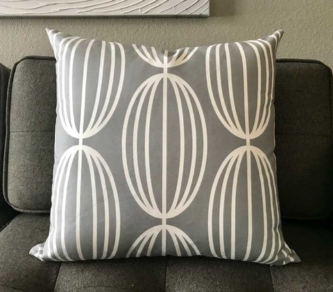 "Nelly 20"" Linen Square Throw Pillow - Gray"