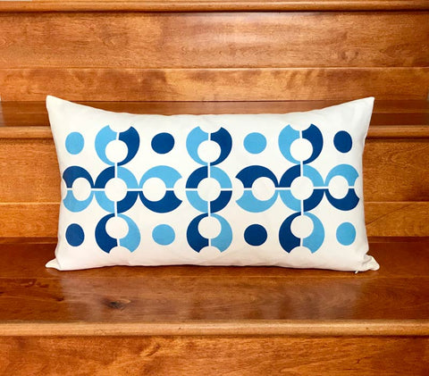 "Pop Dots 20"" x 11"" Linen Lumbar Throw Pillow - Blue"