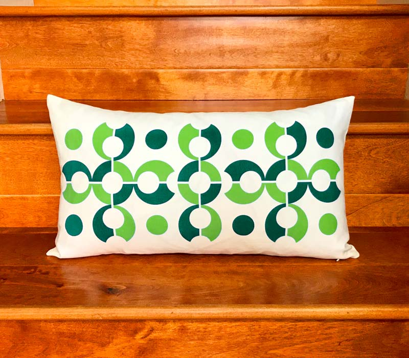 "Pop Dots 20"" x 11"" Linen Lumbar Throw Pillow - Green"