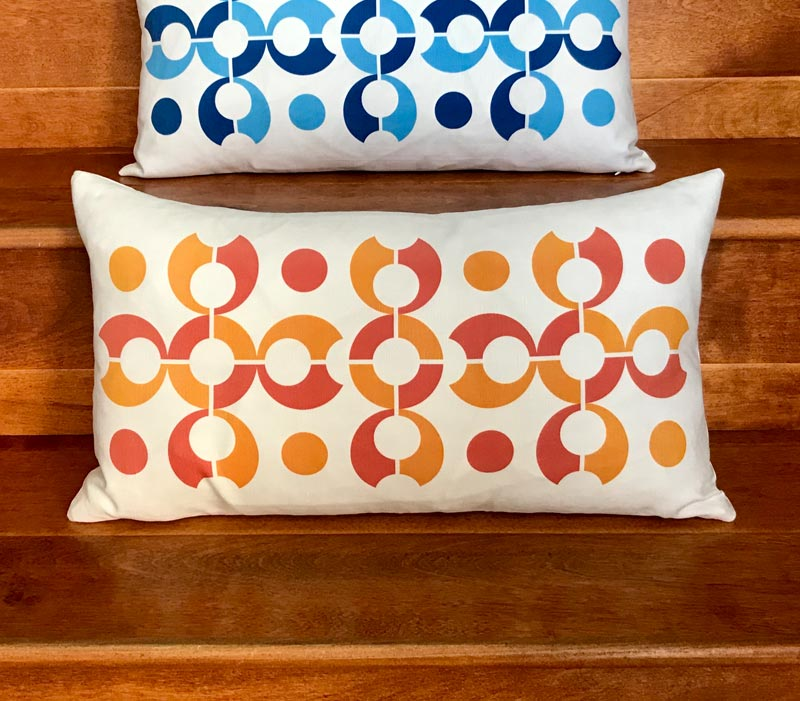 "Pop Dots 20"" x 11"" Linen Lumbar Throw Pillow - Orange"