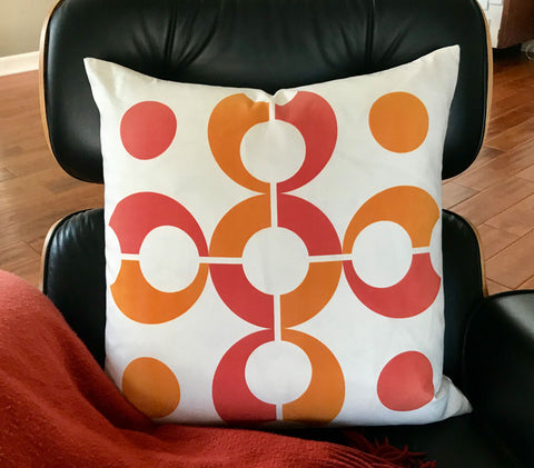 "Pop Dots 20"" Linen Square Throw Pillow - Orange"