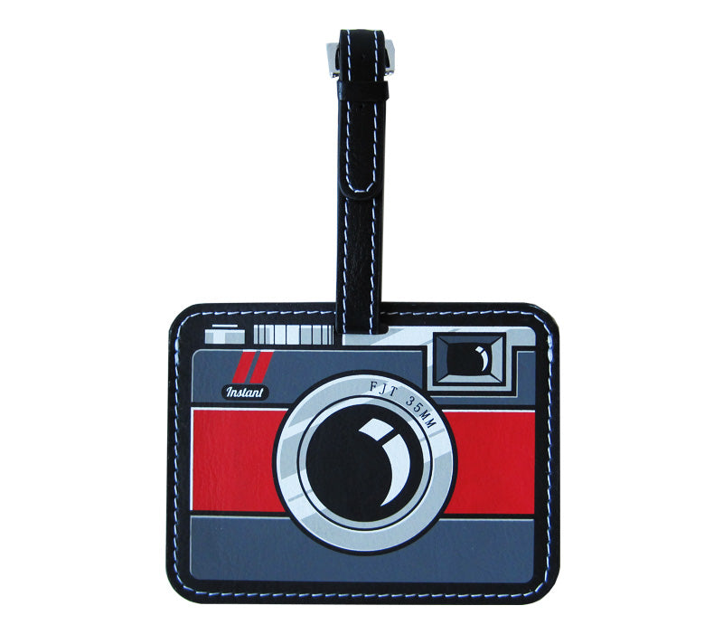 Red and Gray Camera Luggage Tag