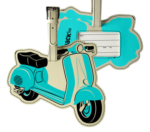Seafoam Green Scooter Luggage Tag