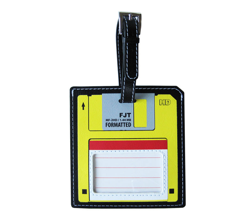 Yellow Floppy Disk Luggage Tag
