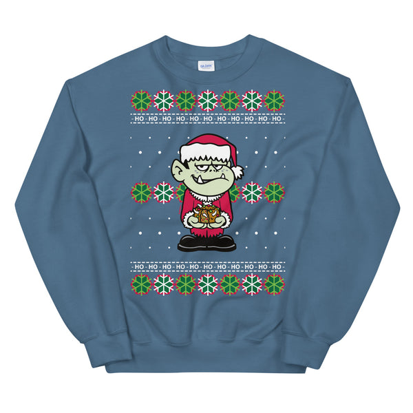 Adult Ivan Fruitcake Unisex Ugly Christmas Sweater in Indigo Blue by Flapjack Toys