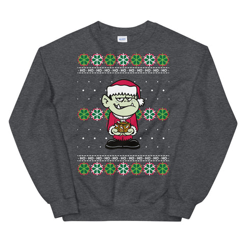 Adult Ivan Fruitcake Unisex Ugly Christmas Sweater in Heather Gray by Flapjack Toys