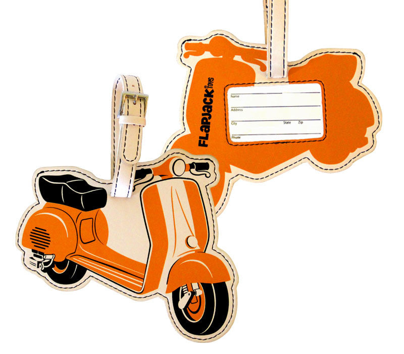 Orange Scooter Luggage Tag
