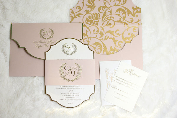 CHELSEA Diecut Invitation with Belly Band (Foil)