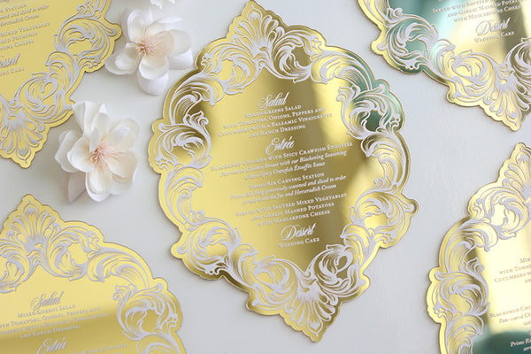 MARIE Gold Mirror Acrylic Menu