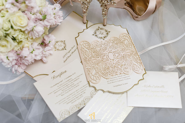 """KERLIE"" Die-cut Invitation with Lasercut Band"