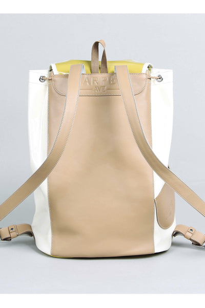 Harper Ave Takashi mustard yellow patent and white leather sides luxury designer backpack - Rear View with Tan Leather Back Panel