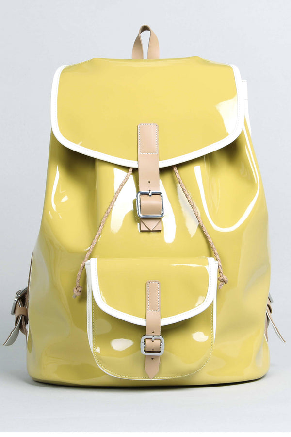 Harper Ave Takashi mustard yellow patent and white leather sides luxury designer backpack