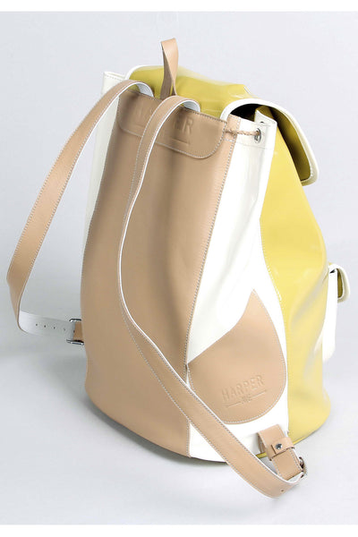 Harper Ave Takashi mustard yellow patent and white leather sides luxury designer backpack - Side View