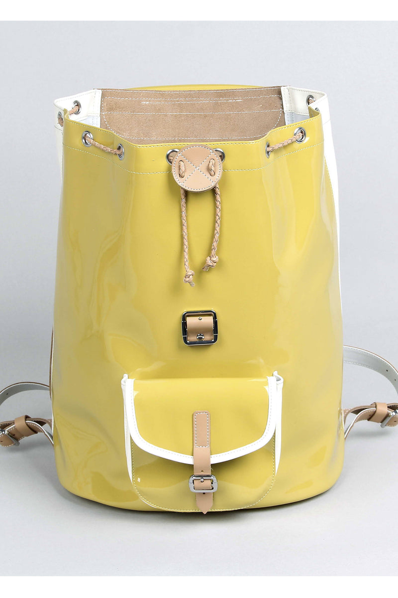 Harper Ave Takashi mustard yellow patent and white leather sides luxury designer backpack - Open View