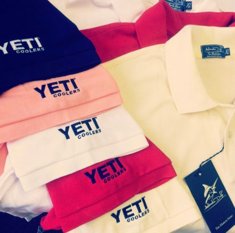YETI coolers Polo Shirts custom embroidery