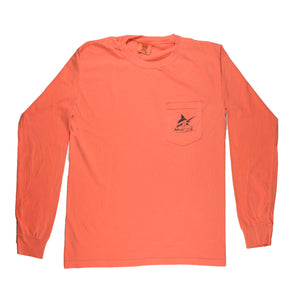 Mullets Running Wild Tee - L/S - Bright Salmon - Atlantic Drift