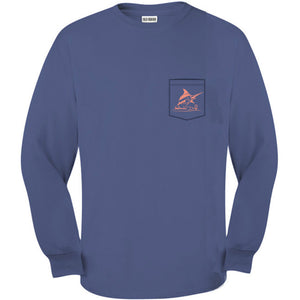 Blue Jean Original Logo Pocket Tee L/S - Atlantic Drift