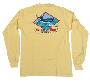 White Marlin Pocket Tee - L/S - Pineapple - Atlantic Drift