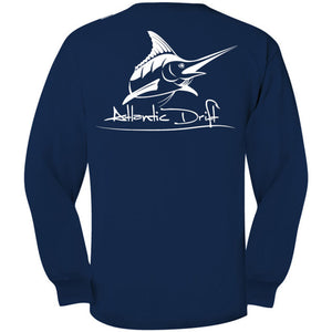 True Navy Original Logo Pocket Tee L/S - Atlantic Drift