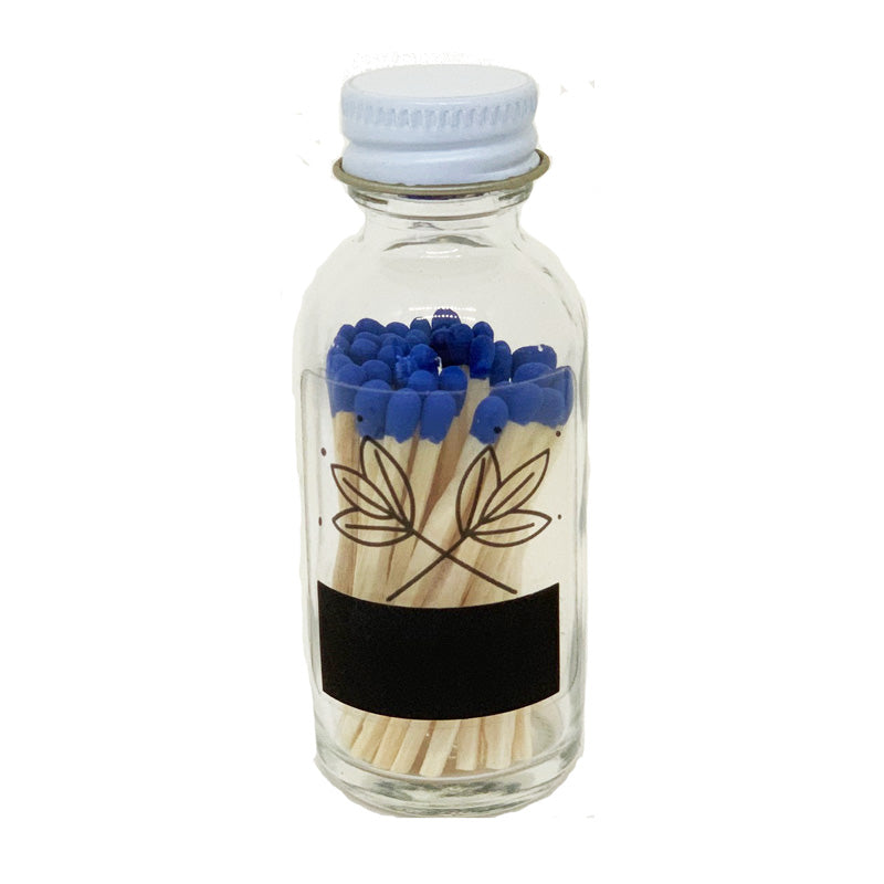image of glass matchstick bottles with colored tips in blue