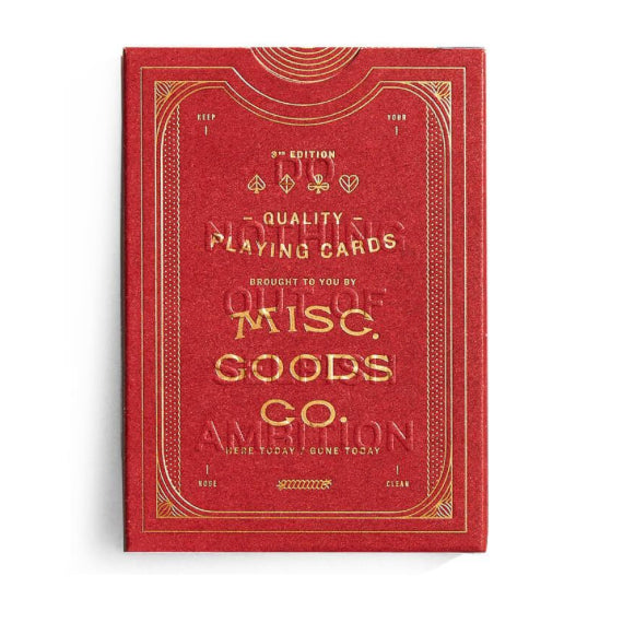 front of playing card box, red with gold text that says misc. good co.