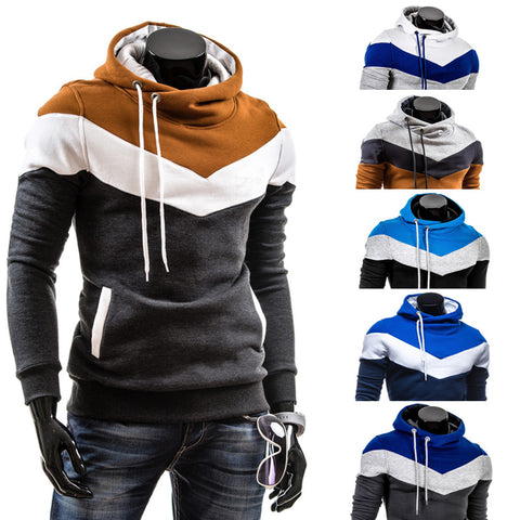 2019 Spring leisure Mens hooded sweater brushed stitching
