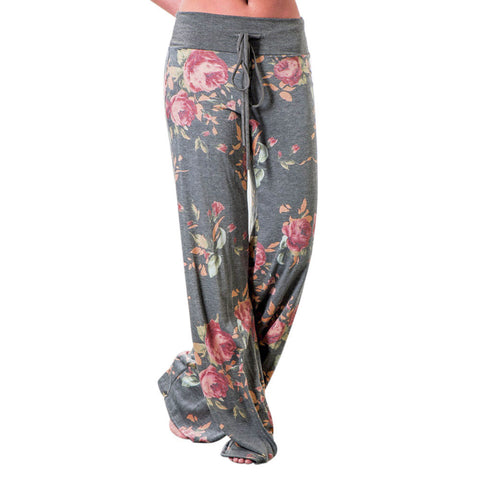 Women Floral Prints Drawstring Wide Leg Pants Leggings