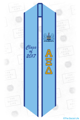 Alpha Xi Delta Light Blue & Gold Stole