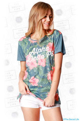 Alpha Delta Pi Vintage Hawaiian Scoop Tee