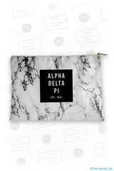 Alpha Delta Pi White Marble Cosmetic Bag
