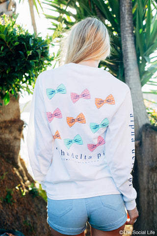 Alpha Delta Pi Bow Long Sleeve Pocket Tee