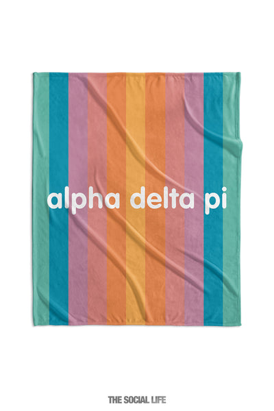 Alpha Delta Pi Horizon Stripe Velvet Plush Blanket