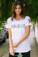 Alpha Delta Pi Rose Shoulder Scoop Tee