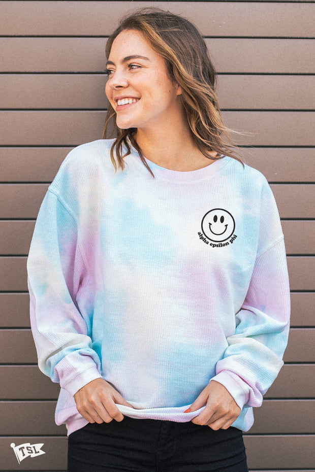 Alpha Epsilon Phi Happy Tie Dye Corded Crewneck