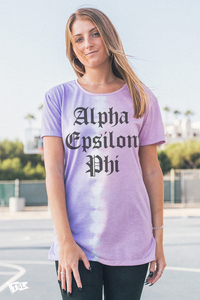 Alpha Epsilon Phi Split Dye Scoop Tee